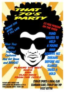 70s Boogie night & Bucket list Fundraiser