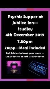 Psychic supper @the Jubilee @ Jubilee Inn | England | United Kingdom