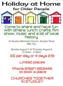 holiday at home for older people @ methodist church | Studley | United Kingdom