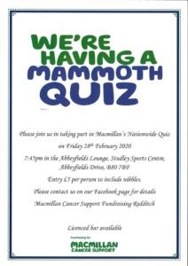 mammoth quiz @ Studley Sports Centre @ Studley Sports Centre | England | United Kingdom