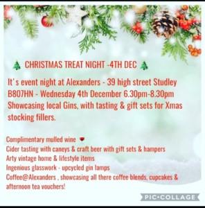 Christmas Treat Night at Alexanders @ Alexander's Gin Bar | England | United Kingdom